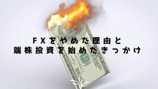 FXをやめた理由と端株投資を始めたきっかけ