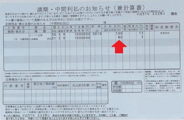 100万円の定期預金の利息